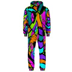 Abstract Sketch Art Squiggly Loops Multicolored Hooded Jumpsuit (men)