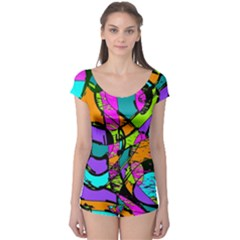 Abstract Sketch Art Squiggly Loops Multicolored Boyleg Leotard