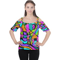 Abstract Sketch Art Squiggly Loops Multicolored Women s Cutout Shoulder Tee