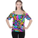 Abstract Sketch Art Squiggly Loops Multicolored Women s Cutout Shoulder Tee View1