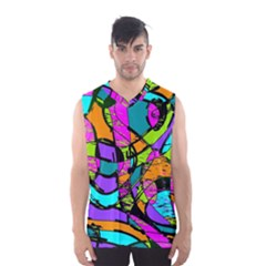 Abstract Sketch Art Squiggly Loops Multicolored Men s Basketball Tank Top
