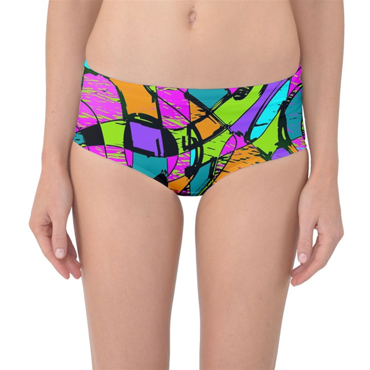 Abstract Sketch Art Squiggly Loops Multicolored Mid-Waist Bikini Bottoms