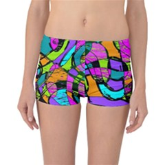 Abstract Sketch Art Squiggly Loops Multicolored Reversible Boyleg Bikini Bottoms by EDDArt