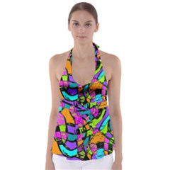 Abstract Sketch Art Squiggly Loops Multicolored Babydoll Tankini Top