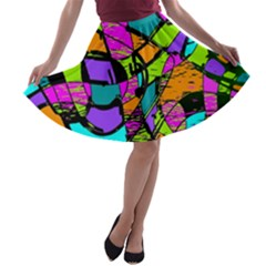 Abstract Sketch Art Squiggly Loops Multicolored A Line Skater Skirt