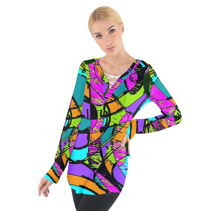 Abstract Sketch Art Squiggly Loops Multicolored Women s Tie Up Tee