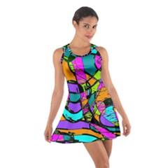 Abstract Sketch Art Squiggly Loops Multicolored Cotton Racerback Dress