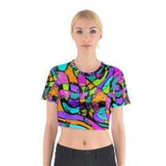 Abstract Sketch Art Squiggly Loops Multicolored Cotton Crop Top