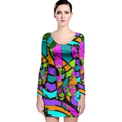 Abstract Sketch Art Squiggly Loops Multicolored Long Sleeve Velvet Bodycon Dress