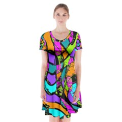 Abstract Sketch Art Squiggly Loops Multicolored Short Sleeve V-neck Flare Dress