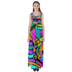 Abstract Sketch Art Squiggly Loops Multicolored Empire Waist Maxi Dress by EDDArt