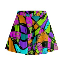 Abstract Sketch Art Squiggly Loops Multicolored Mini Flare Skirt