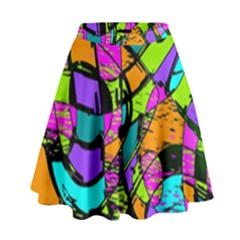 Abstract Sketch Art Squiggly Loops Multicolored High Waist Skirt by EDDArt