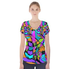 Abstract Sketch Art Squiggly Loops Multicolored Short Sleeve Front Detail Top