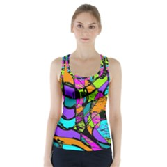 Abstract Sketch Art Squiggly Loops Multicolored Racer Back Sports Top