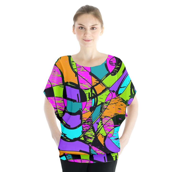 Abstract Sketch Art Squiggly Loops Multicolored Blouse