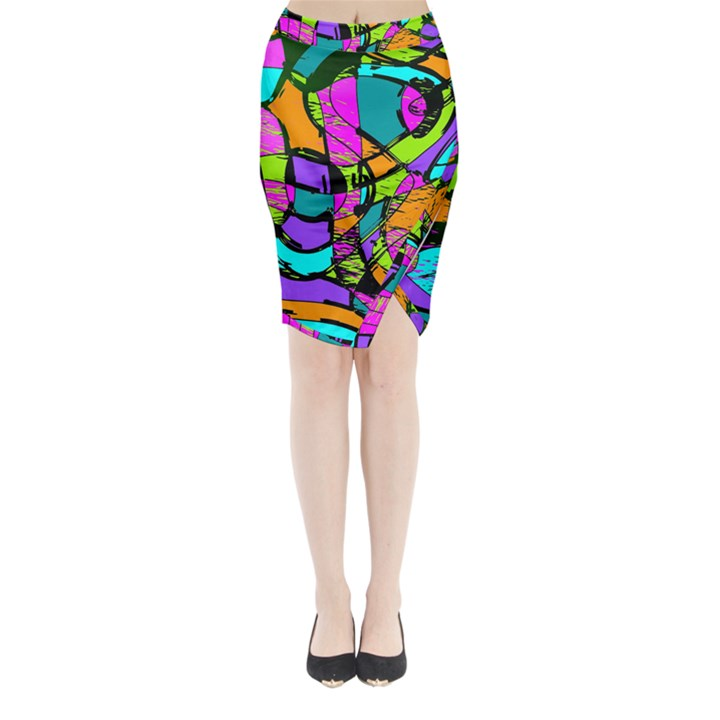 Abstract Sketch Art Squiggly Loops Multicolored Midi Wrap Pencil Skirt