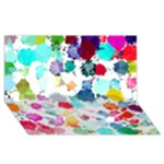 Colorful Diamonds Dream Twin Heart Bottom 3D Greeting Card (8x4)