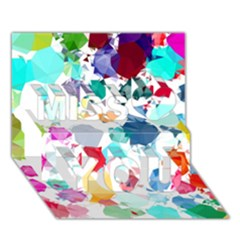 Colorful Diamonds Dream Miss You 3d Greeting Card (7x5) by DanaeStudio
