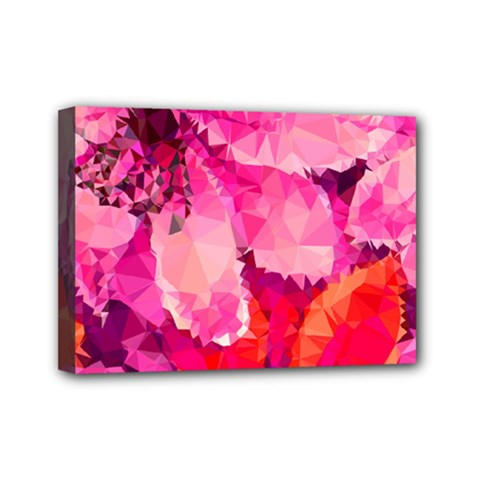 Geometric Magenta Garden Mini Canvas 7  x 5