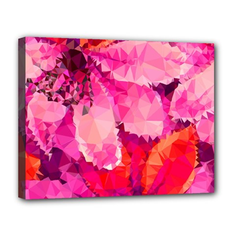 Geometric Magenta Garden Canvas 14  x 11