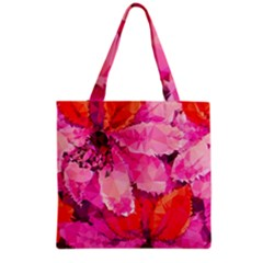 Geometric Magenta Garden Grocery Tote Bag by DanaeStudio