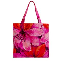 Geometric Magenta Garden Zipper Grocery Tote Bag