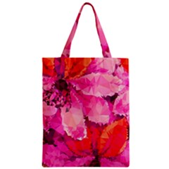 Geometric Magenta Garden Zipper Classic Tote Bag by DanaeStudio