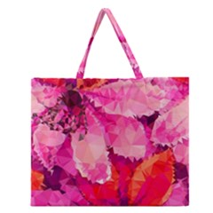 Geometric Magenta Garden Zipper Large Tote Bag