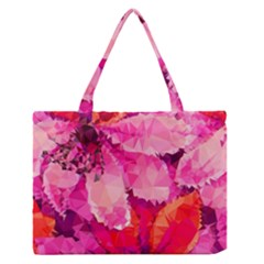 Geometric Magenta Garden Medium Zipper Tote Bag