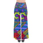 Pop Art Paisley Flowers Ornaments Multicolored Women s Chic Palazzo Pants