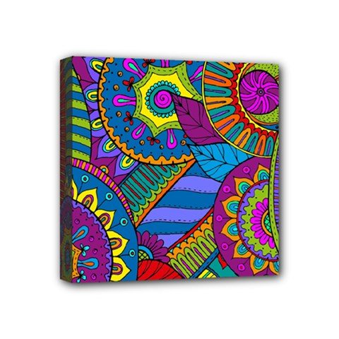 Pop Art Paisley Flowers Ornaments Multicolored Mini Canvas 4  X 4
