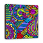 Pop Art Paisley Flowers Ornaments Multicolored Mini Canvas 8  x 8