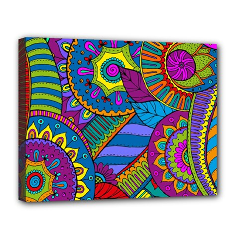 Pop Art Paisley Flowers Ornaments Multicolored Canvas 14  X 11  by EDDArt