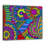 Pop Art Paisley Flowers Ornaments Multicolored Canvas 24  x 20