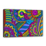 Pop Art Paisley Flowers Ornaments Multicolored Canvas 18  x 12