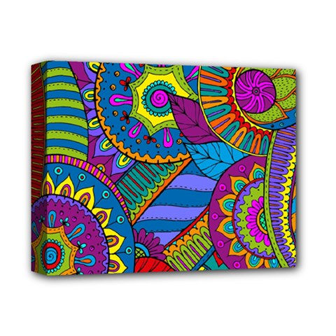Pop Art Paisley Flowers Ornaments Multicolored Deluxe Canvas 14  X 11