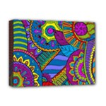 Pop Art Paisley Flowers Ornaments Multicolored Deluxe Canvas 16  x 12