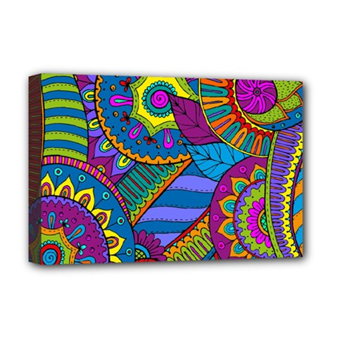 Pop Art Paisley Flowers Ornaments Multicolored Deluxe Canvas 18  X 12
