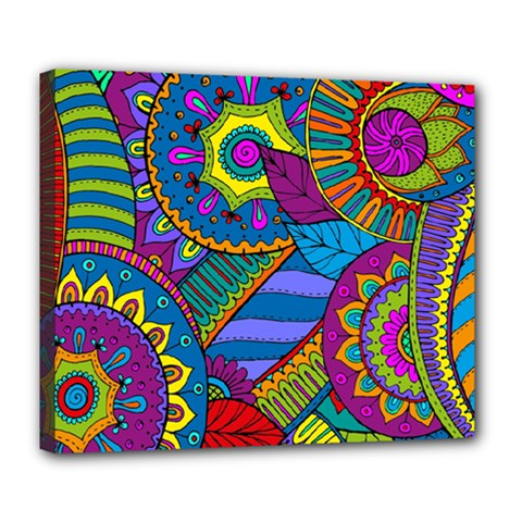 Pop Art Paisley Flowers Ornaments Multicolored Deluxe Canvas 24  X 20