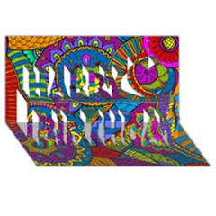 Pop Art Paisley Flowers Ornaments Multicolored Happy Birthday 3d Greeting Card (8x4) by EDDArt