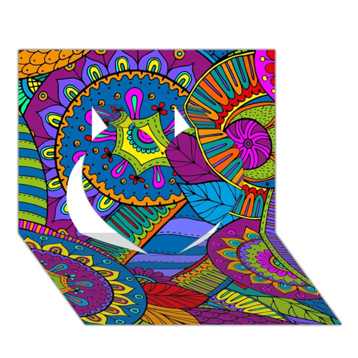 Pop Art Paisley Flowers Ornaments Multicolored Heart 3D Greeting Card (7x5)