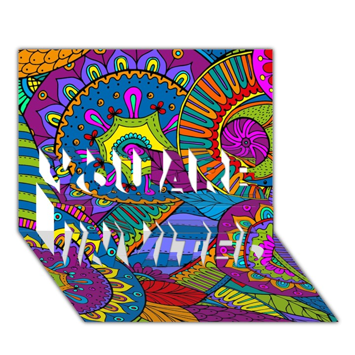 Pop Art Paisley Flowers Ornaments Multicolored YOU ARE INVITED 3D Greeting Card (7x5)