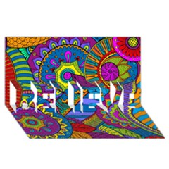 Pop Art Paisley Flowers Ornaments Multicolored Believe 3d Greeting Card (8x4) by EDDArt