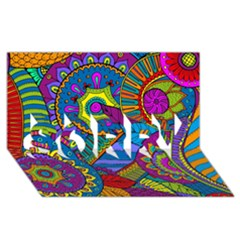Pop Art Paisley Flowers Ornaments Multicolored Sorry 3d Greeting Card (8x4) by EDDArt