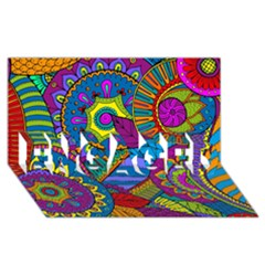 Pop Art Paisley Flowers Ornaments Multicolored Engaged 3d Greeting Card (8x4) by EDDArt