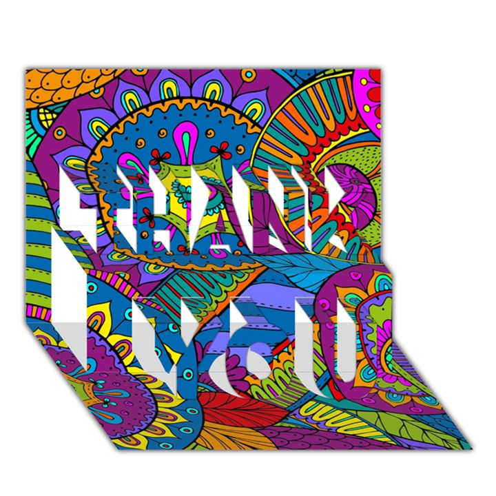 Pop Art Paisley Flowers Ornaments Multicolored THANK YOU 3D Greeting Card (7x5)