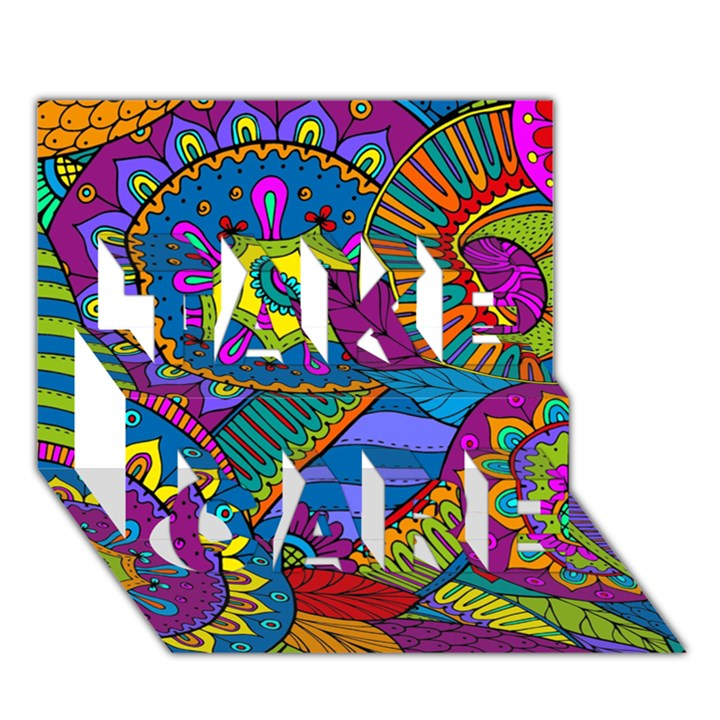 Pop Art Paisley Flowers Ornaments Multicolored TAKE CARE 3D Greeting Card (7x5)