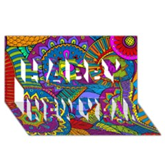 Pop Art Paisley Flowers Ornaments Multicolored Happy New Year 3d Greeting Card (8x4) by EDDArt