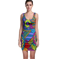 Pop Art Paisley Flowers Ornaments Multicolored Sleeveless Bodycon Dress